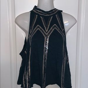 Free People Silver Sequin Halter Top Size XS